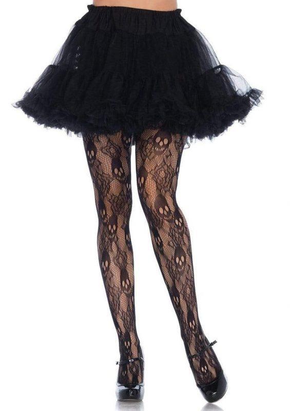 Leg Avenue Black Rose Skull Lace Tights - 1X-2X - Black