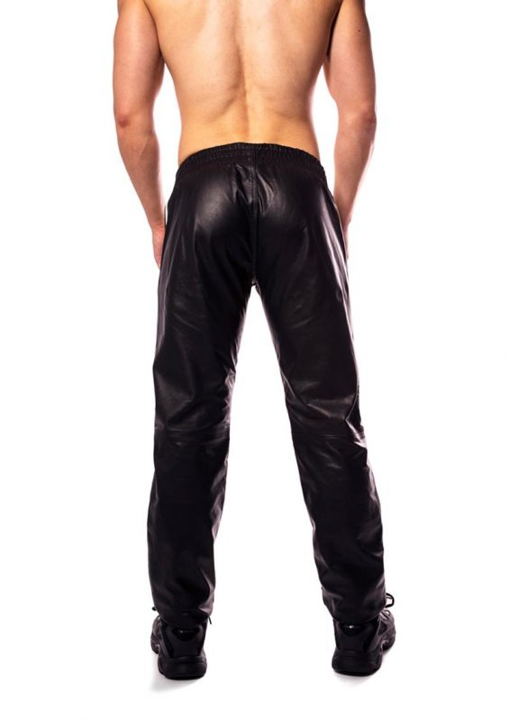 Prowler Red Leather Joggers - Medium - Black/White