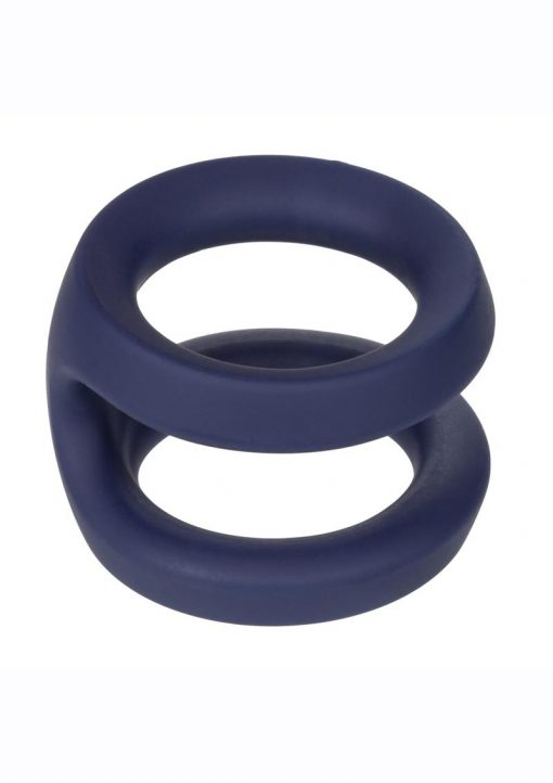 Viceroy Dual Ring Silicone Cock Ring - Blue
