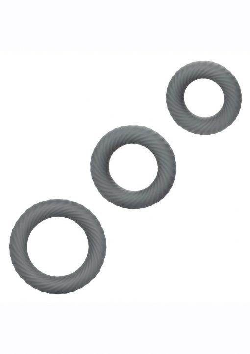 Link Up Ultra Soft Ultimate Set Silicone Cock Rings (Set of 3) - Gray