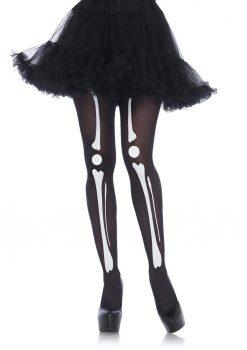 Leg Avenue Skeleton Print Bone Tights - O/S - Black/White
