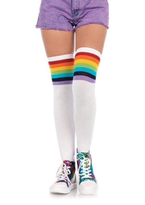 Leg Avenue Over The Rainbow Opaque Thigh High - O/S - Multicolor