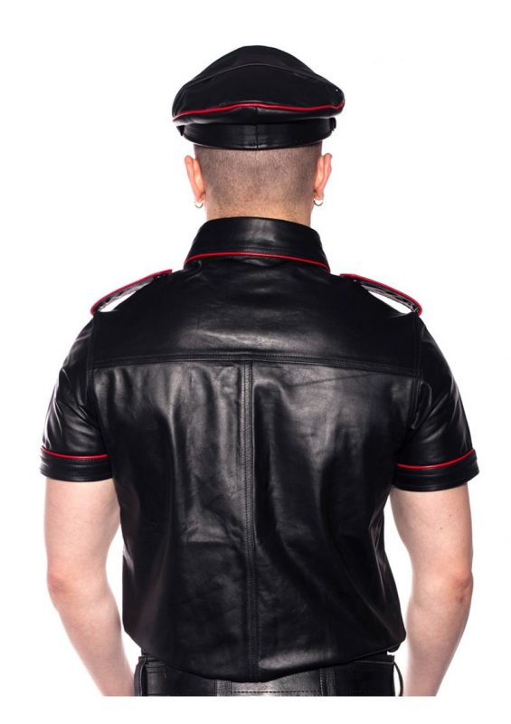 Prowler Red Police Shirt Piped - Large - Black/Red