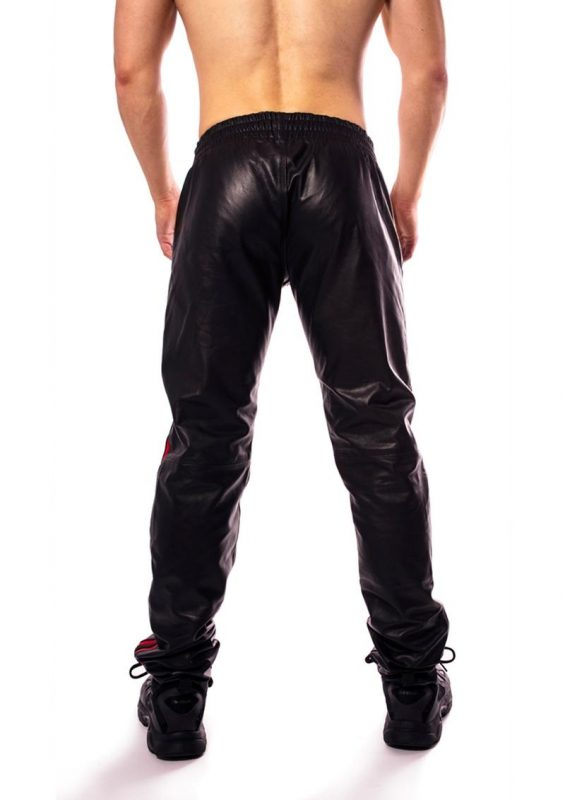 Prowler Red Leather Joggers - Small - Black/Red