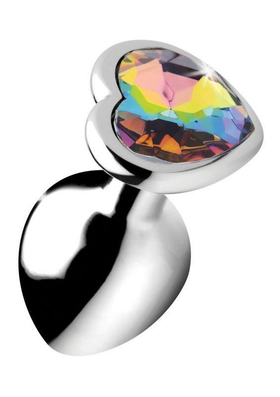 Booty Sparks Rainbow Prism Heart Anal Plug - Medium