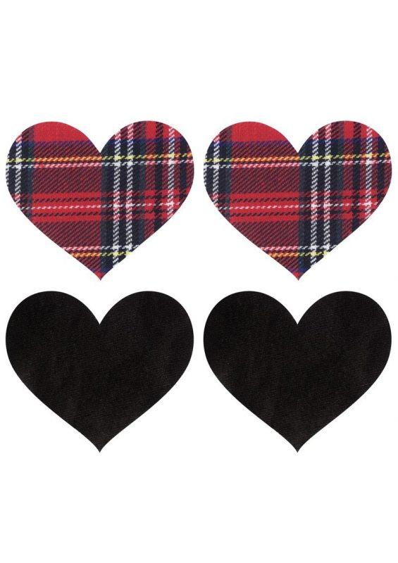 Peekaboo Schoolgirl Hearts Pasties - Red